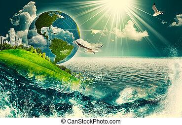 eco, resumen, fondos, ambiental, diseño, su