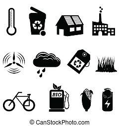 eco, riciclare, bio, icone