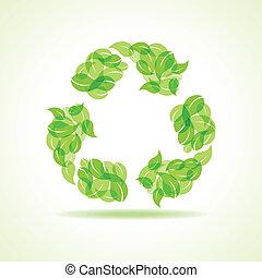 eco, riciclare, foglie, fare, icona