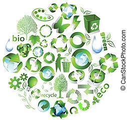 eco, riciclare, simboli, fine
