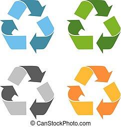 eco, riciclato, vettore, icona