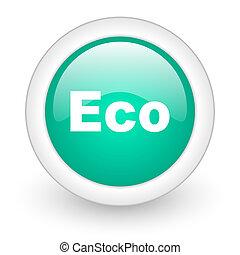 eco round glossy web icon on white background