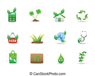 eco, sätta, grön, ikonen