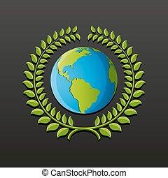 eco, símbolo, con, tierra