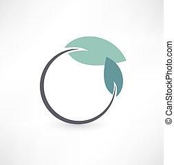 eco, símbolos, com, folha