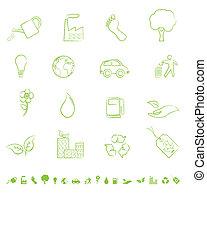 eco, símbolos, verde
