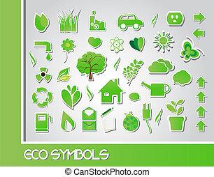 eco, símbolos, vetorial