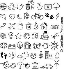 eco, scarabocchiare, set, icona
