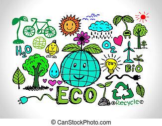 eco, schets, idee, vriendelijk