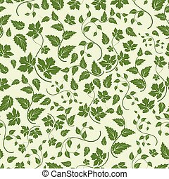 Eco seamless pattern with green leaves