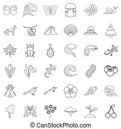 Eco security icons set, outline style