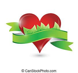 eco, serce, projektować, kasownik, ilustracja