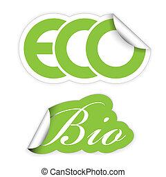 eco, set, bio, etiketten