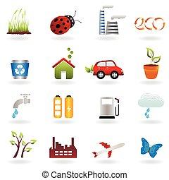 eco, set, pictogram