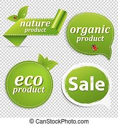 eco, set, verde, etichette