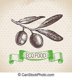 eco, sfondo cibo, vegetable., disegnato, schizzo, mano, oliva