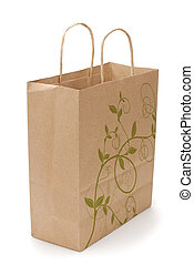 eco shopping bag on white - kraft shopping bag with...