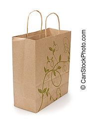 eco shopping bag on white - kraft shopping bag with...