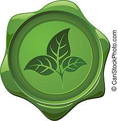 eco, signe., cire, forme, vert, cachet, feuilles