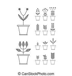 eco, signs., virágcserép, állhatatos, icons., elements., növényvilág, természet, collection.