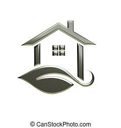 Eco Silver House Logo. 3D Rendering Illustration.
