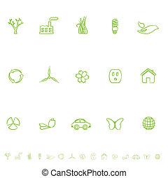 eco, simboli, set, generale, icona