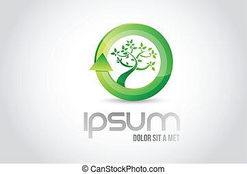 eco, simbolo, albero, illustrazione, disegno, logotipo