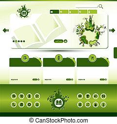 eco, sitio web, verde, plantilla