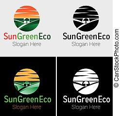 eco, sol, verde, logotipo