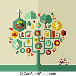 eco, sostenible, vida, árbol