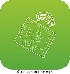 eco, sounder, ícone, verde, vetorial