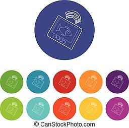 eco, sounder, ícones, jogo, vetorial, cor