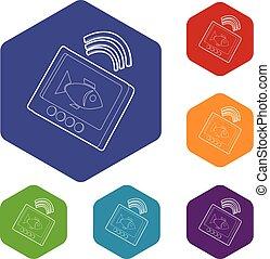 eco, sounder, hexahedron, vettore, icone