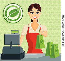 eco, sourire, caissier, girl, magasin