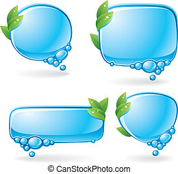 Eco speech bubble set - Set of speech bubbles formed from...