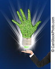 eco, spia verde, bulbo, in, affari, mano