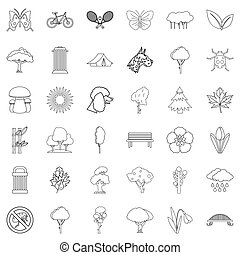 Eco square icons set, outline style