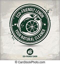 eco, stämpel, alternativ, citron, vänskapsmatch