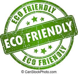 eco, stämpel, vektor, vänskapsmatch