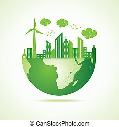 eco, stad, concept, groene aarde