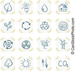 Eco Sticker Icon Set