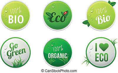 eco, stickers, set, organisch, bio