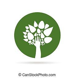 eco, strom, s, rukopis, nezkušený, vektor