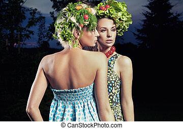 eco, style cheveux, deux femmes