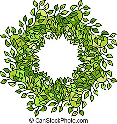 Eco style green leaves round frame. Eco friendle pattern with copyspace. Vector illustration.