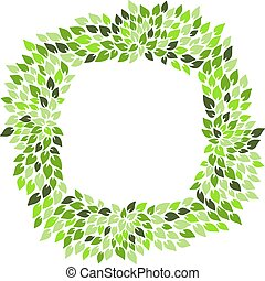 Eco style green leaves square frame. Eco friendle pattern with copyspace. Vector illustration.
