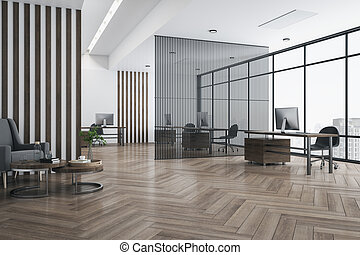 Eco style interior design in spacious office with parquet, dark wooden furniture and stripes on walls