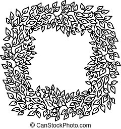 Eco style leaves square frame. Eco friendle black pattern with copyspace. Vector illustration.