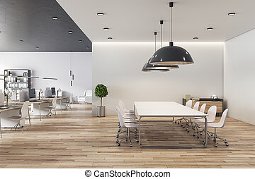 Eco style open space office with light furniture, wooden floor and big light conference table in the center