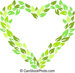 Eco style print. Leaves green heart frame. Eco friendle pattern with copyspace. Vector illustration.